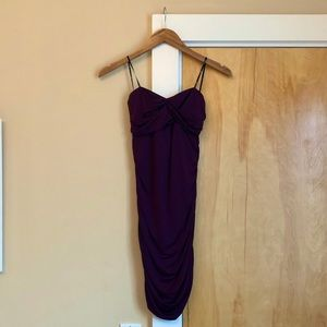 Ruched purple strapless dress
